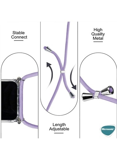 Microsonic Apple İphone 12 Mini Kılıf Neck Lanyard Lila Siyah